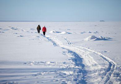 People walking through snow