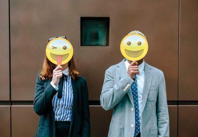 People with emoji masks