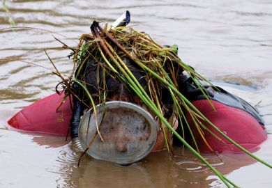 Person in scuba gear emerging from bog