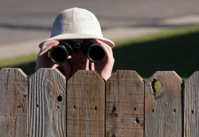 Person looking over fence with binoculars