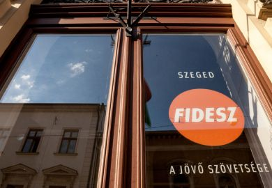 Picture of the local office of Fidesz party in Szeged, Southern Hungary. This party is currently at power in hungary, on a right wing, conservative and populist position in the political spectrum