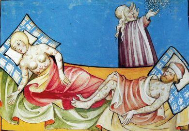 Miniature depicting a couple suffering from the blisters of the Black Death, the bubonic plague that swept Europe in the Middle Ages. From the Swiss manuscript the Toggenburg Bible, 1411.