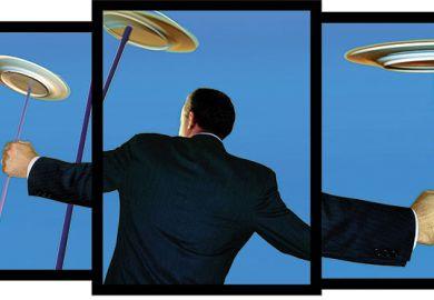 Illustration of man spinning plates