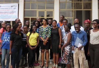 Political scientist Josephine Dawuni with postgraduates at University of Ghana