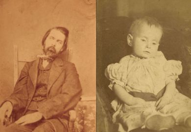 Portraits of man's and child's corpses