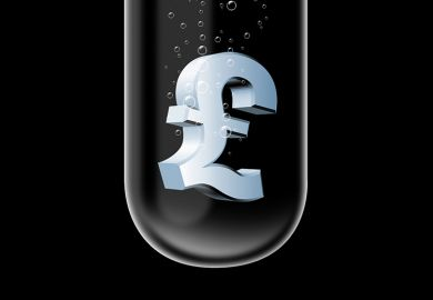Pound (£) currency symbol sinking in test tube