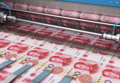 Printing 100 Chinese yuan money banknotes