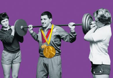 Man lifting weight flanked by two women