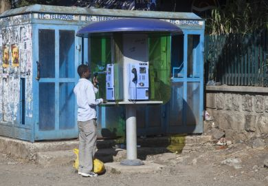 Public telephone in Addis Ababa