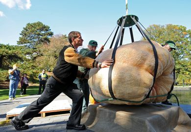Weighing huge pumpkin
