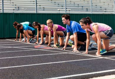 Starting line of a race