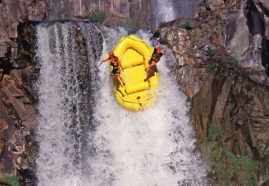 raft waterfall jump