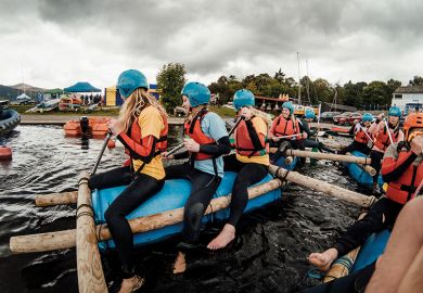 women on raft