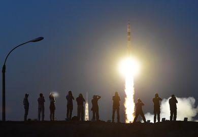 A rocket taking off