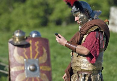 Roman centurion with mobile phone