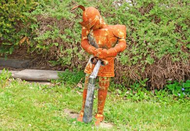 A rusty suit of armour