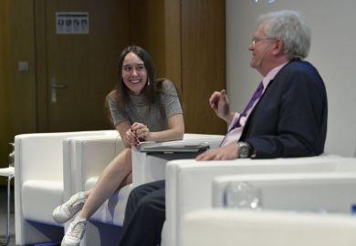 Sabrina Gonzalez Pasterski speaks at the THE World Academic Summit