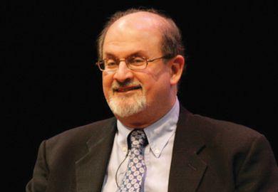 Salman Rushdie speaking during interview