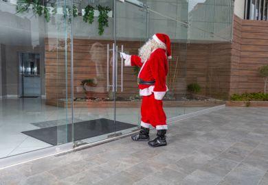 Santa opening door