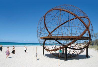 Abstract sculpture on beach