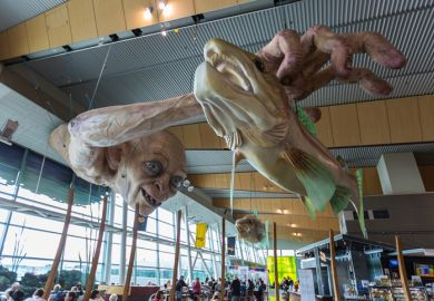 Sculpture of Gollum from the movie The Lord of the Rings and the Hobbits display in Wellington international Airport in Wellington, New Zealand
