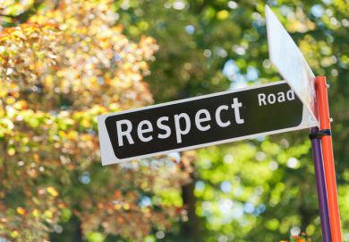 "A street sign reading ""Respect Road"" illustrating the theme of sexual harrassment"