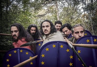 Warriors with shields bearing the European Union flag symbolising protecting free speech
