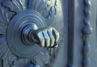 Shut door with fist