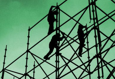 Silhouette of people building scaffolding