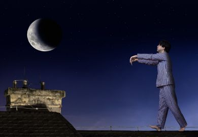 A man sleepwalking on a roof