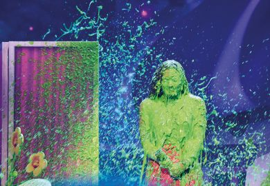 Person covered in green slime