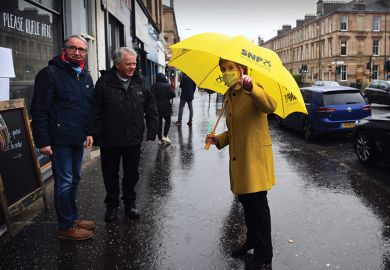 Scotland's first minister, Nicola Sturgeon, leader of the Scottish National Party (SNP), campaigns for the Scottish Parliament election in Glasgow Southside