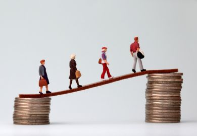 Miniature people walk from a low to a high pile of coins