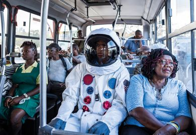 Astronaut on bus