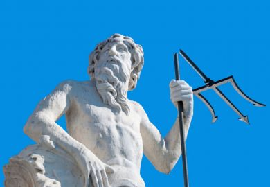 Statue of god with broken trident