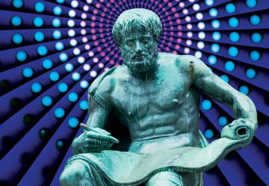Statue of seated man writing on scroll