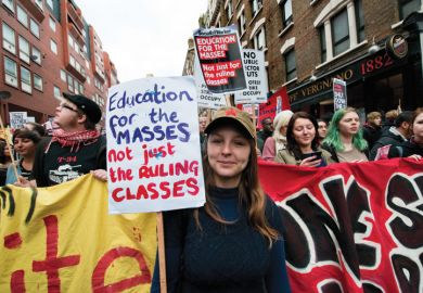 Student demonstrators during march, London, 2011