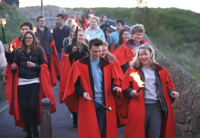 Students gathered at St Andrews Castle