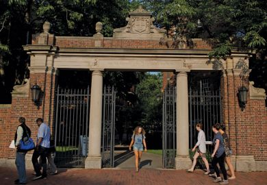 Students at Harvard University campus gate, Cambridge, Massachusetts, 2015