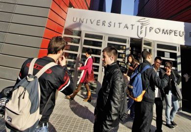Students outside Pompeu Fabra University communication campus