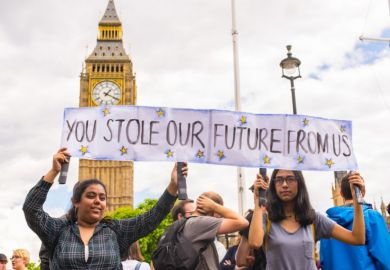 Students protesting against Brexit in front of the House of Commons