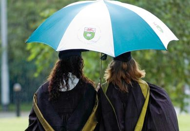 Students under an umbrella