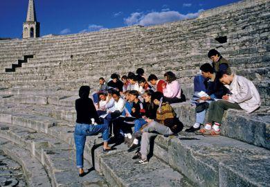 Students visit Roman Antique Theater, Arles, Bouches-du-Rhone
