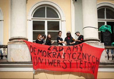 Students protest the changes in the higher education law in Warsaw, Poland