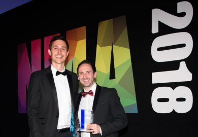 Gareth Cresswell collects the Digital Publication of the Year for THE