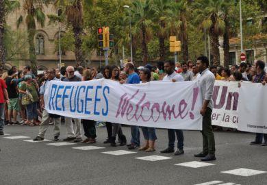 Pro-refugee demonstration, Barcelona