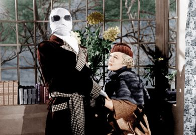 Claude Rains and Gloria Stuart in The Invisible Man, 1933