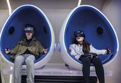 couple wearing virtual reality headsets