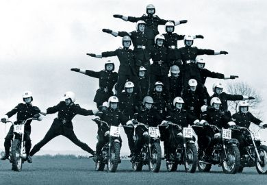 Police motorcyclists display team
