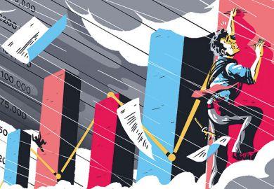 Illustration of man climbing up graph